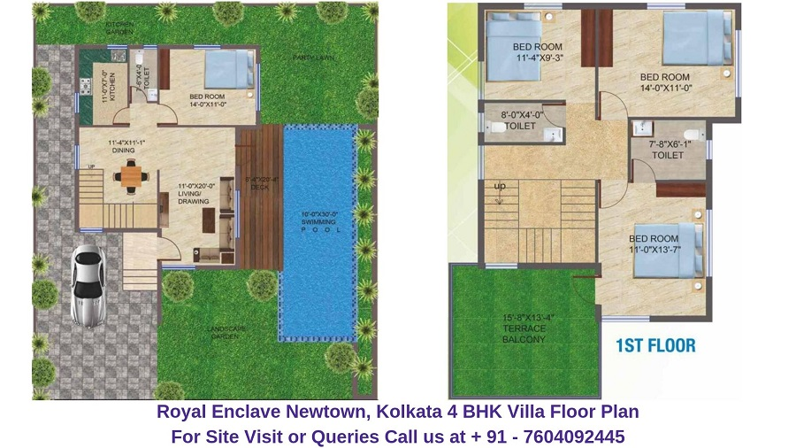 Dharitri Royal Enclave Newtown, Kolkata 4 BHK Villa Floor Plan