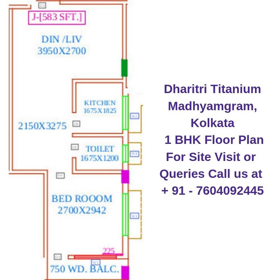 Dharitri Titanium Madhyamgram, Kolkata 1 BHK Floor Plan 583 Sqft