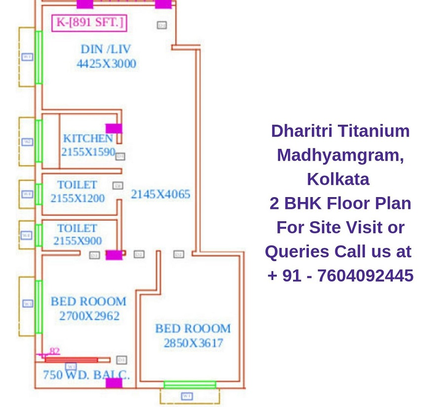 Dharitri Titanium Madhyamgram, Kolkata 2 BHK Floor Plan 891 Sqft