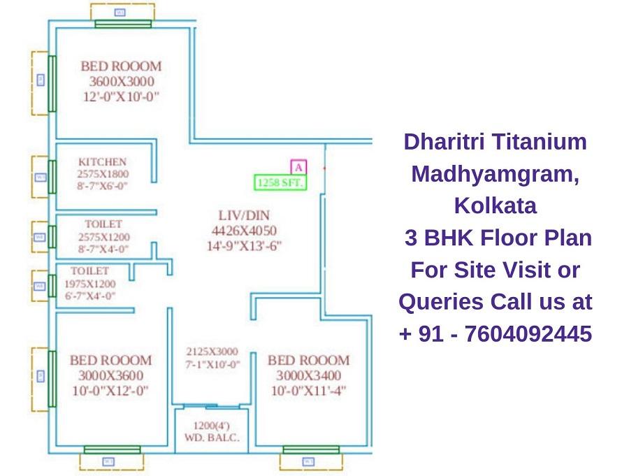 Dharitri Titanium Madhyamgram, Kolkata 3 BHK Floor Plan 1258 Sqft