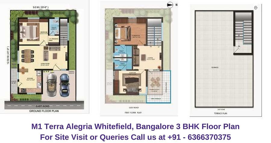M1 Terra Alegria Whitefield, Bangalore 3 BHK Floor Plan