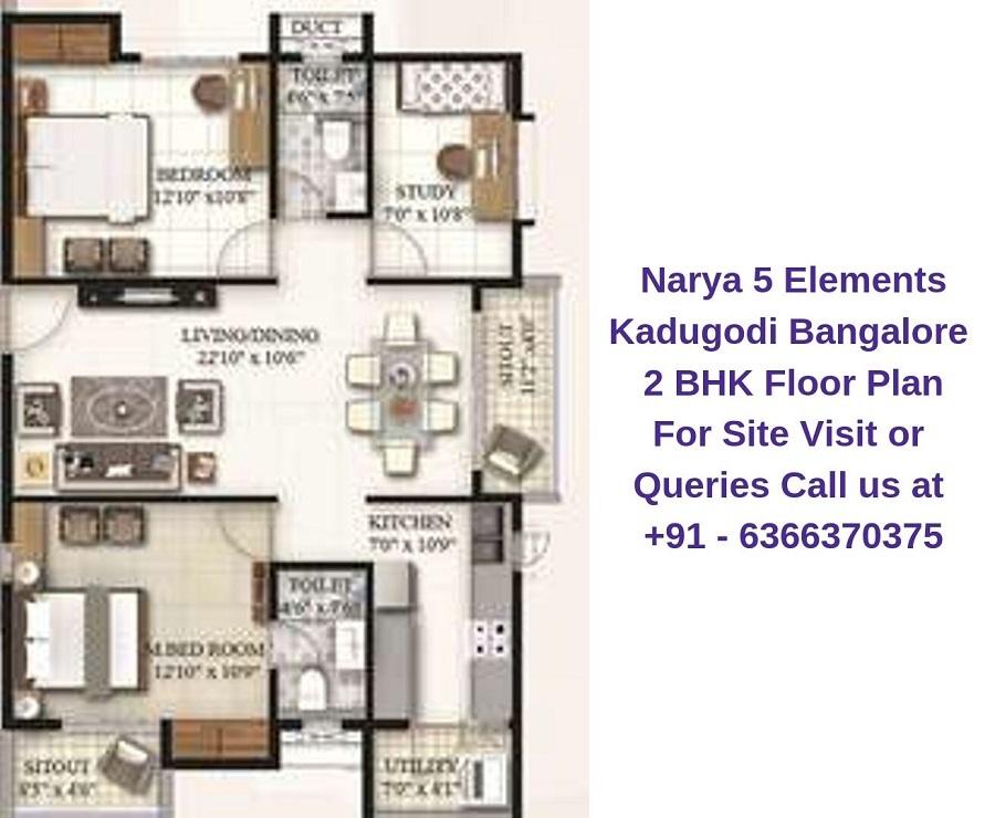 Narya 5 Elements Kadugodi Bangalore 2 BHK Floor Plan