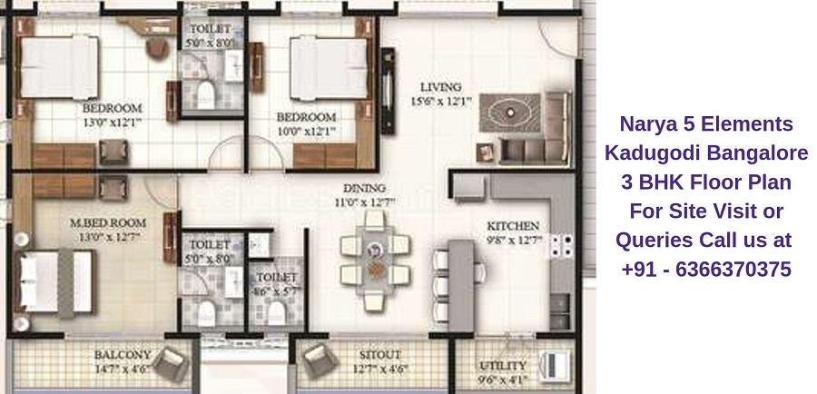 Narya 5 Elements Kadugodi Bangalore 3 BHK Floor Plan