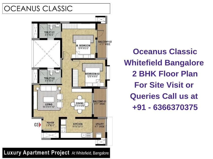 Oceanus Classic Whitefield Bangalore 2 BHK Floor Plan