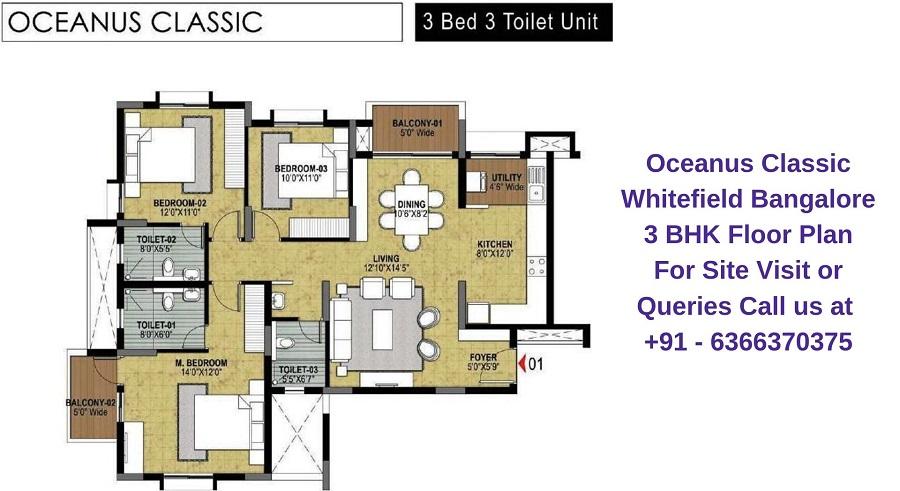 Oceanus Classic Whitefield Bangalore 3 BHK Floor Plan