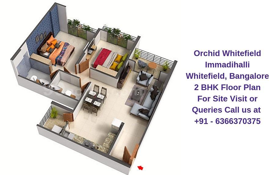 Orchid Whitefield Immadihalli Whitefield,Bangalore 2 BHK Floor Plan