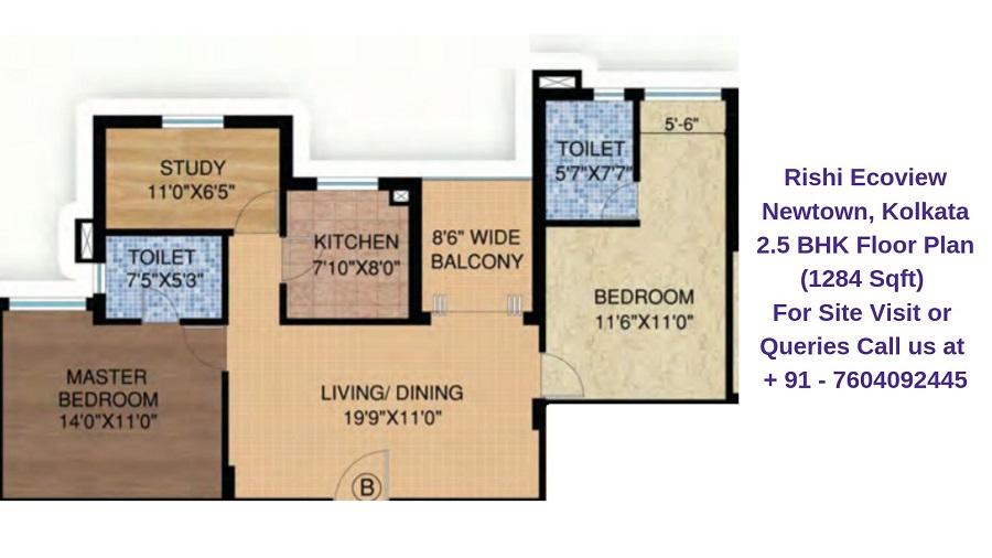 Rishi Ecoview Newtown, Kolkata 2.5 BHK Floor Plan 1284 Sqft