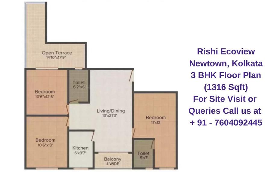 Rishi Ecoview Newtown, Kolkata 3 BHK Floor Plan 1316 Sqft