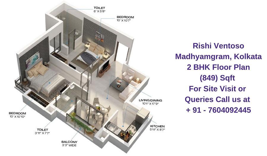 Rishi Ventoso Madhyamgram, Kolkata 2 BHK Floor Plan 849 Sqft