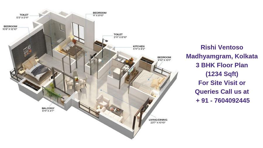 Rishi Ventoso Madhyamgram, Kolkata 3 BHK Floor Plan 1234 Sqft