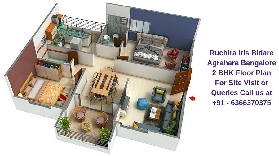 Ruchira Iris Bidare Agrahara Bangalore 2 BHK Floor Plan