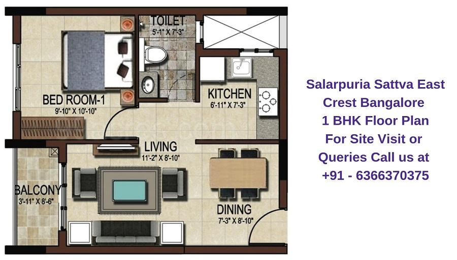 Salarpuria Sattva East Crest Bangalore 1 BHK Floor Plan