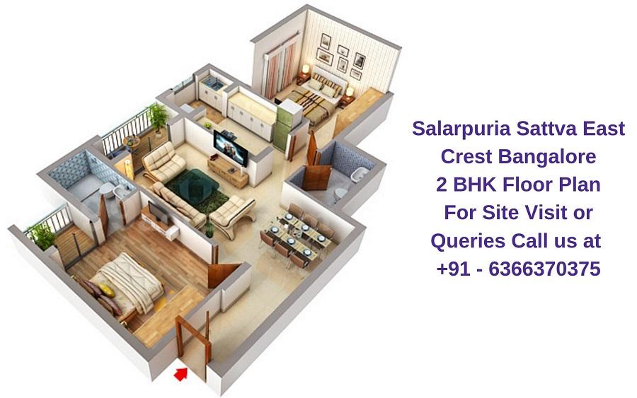 Salarpuria Sattva East Crest Bangalore 2 BHK Floor Plan