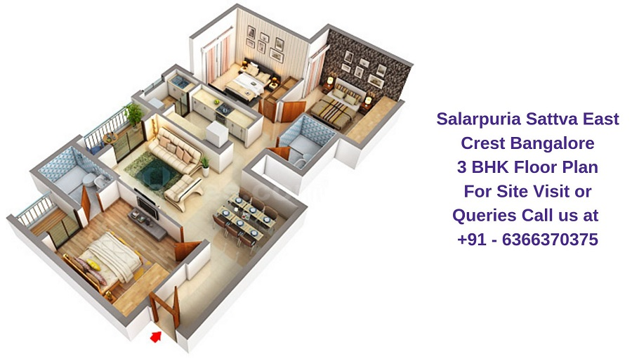 Salarpuria Sattva East Crest Bangalore 3 BHK Floor Plan