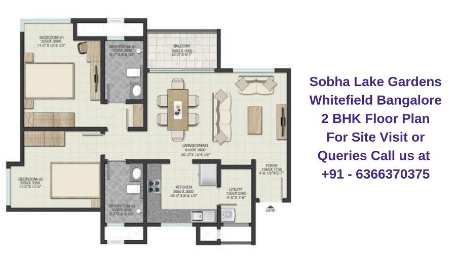 Sobha Lake Gardens Whitefield Bangalore 2 BHK Floor Plan