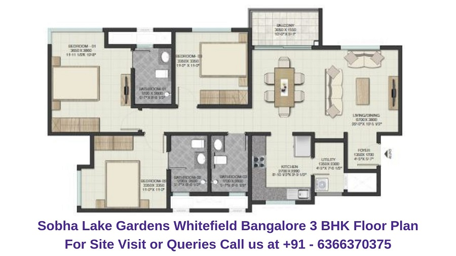 Sobha Lake Gardens Whitefield Bangalore 3 BHK Floor Plan