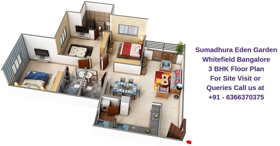 Sumadhura Eden Garden Whitefield Bangalore 3 BHK Floor Plan