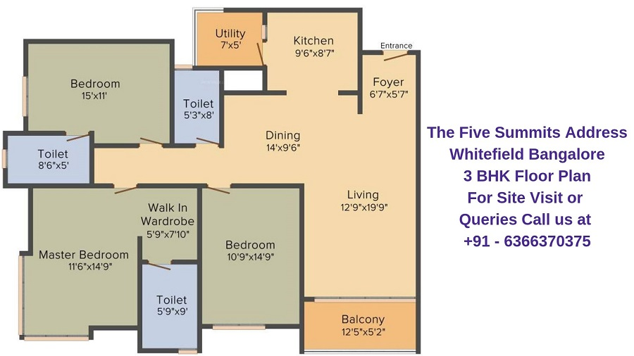 The Five Summits Address Whitefield Bangalore 3 BHK Floor Plan