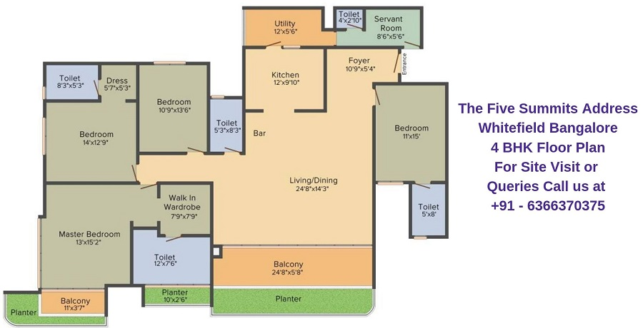 The Five Summits Address Whitefield Bangalore 4 BHK Floor Plan