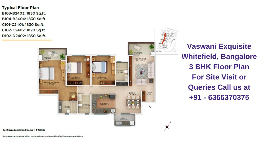 Vaswani Exquisite Whitefield, Bangalore 3 BHK Floor Plan