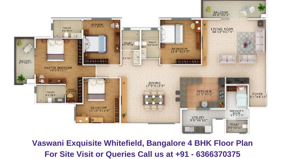 Vaswani Exquisite Whitefield, Bangalore 4 BHK Floor Plan