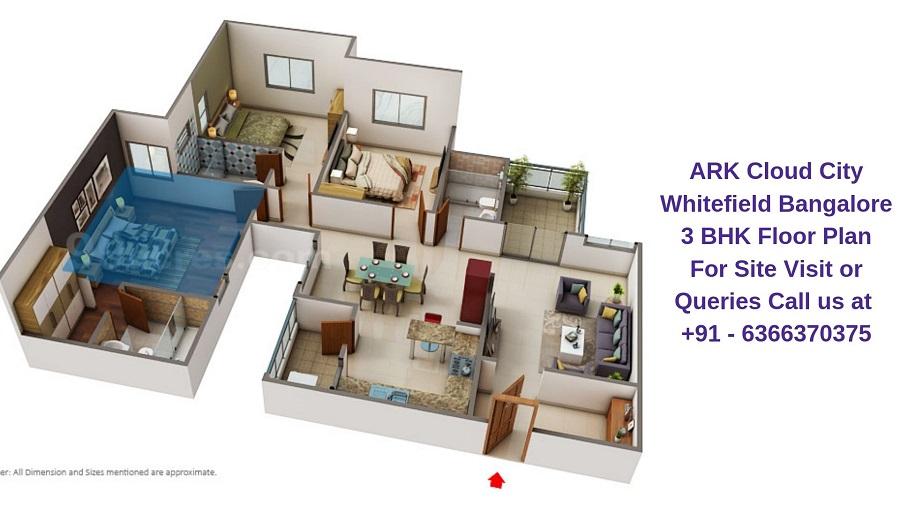ARK Cloud City Whitefield Bangalore 3 BHK Floor Plan