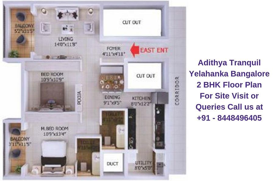 Adithya Tranquil Yelahanka Bangalore 2 BHK Floor Plan