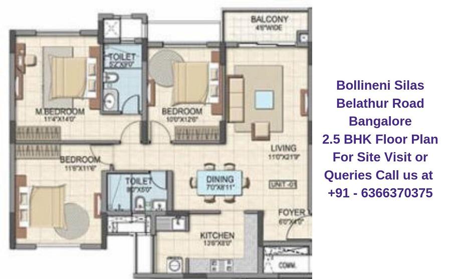 Bollineni Silas Belathur Road Bangalore 2.5 BHK Floor Plan