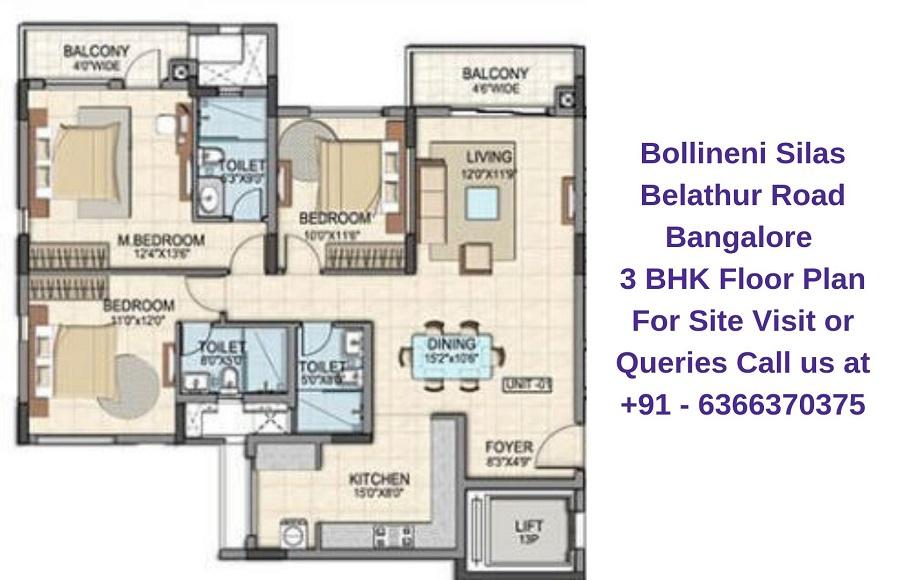 Bollineni Silas Belathur Road Bangalore 3 BHK Floor Plan