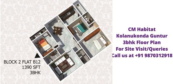 CM Habitat Kolanukonda Guntur 3bhk Floor Plan