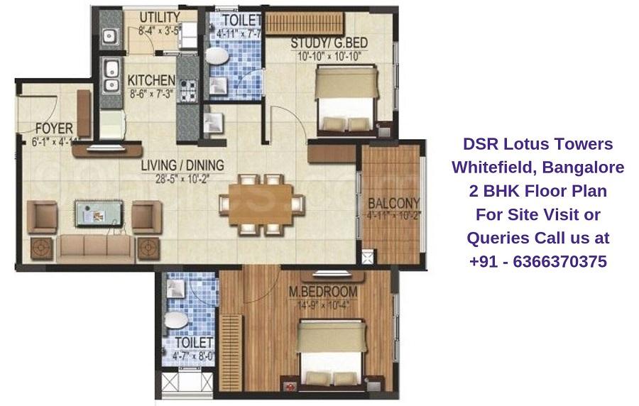 DSR Lotus Towers Whitefield,Bangalore 2 BHK Floor Plan
