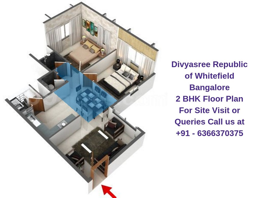 Divyasree Republic of Whitefield Bangalore 2 BHK Floor Plan