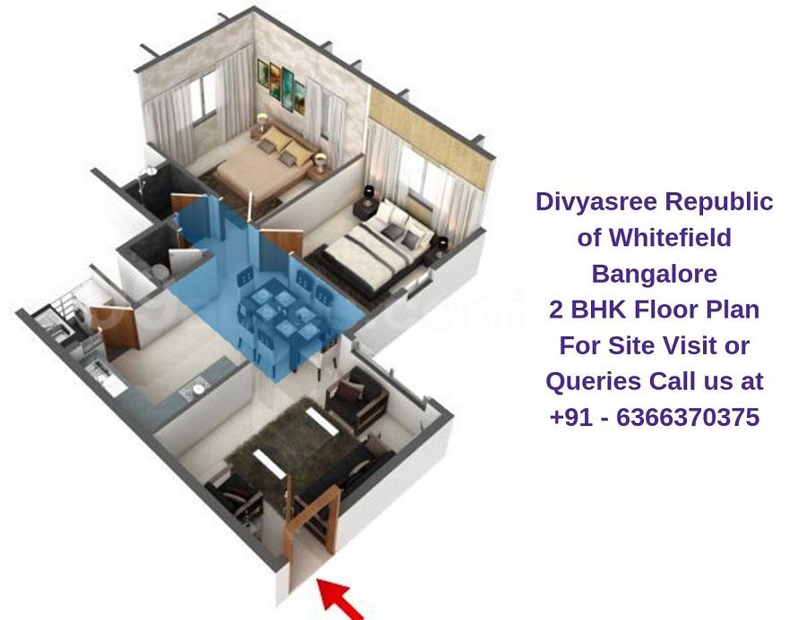 Divyasree Republic of Whitefield Bangalore 2 BHK Floor Plan