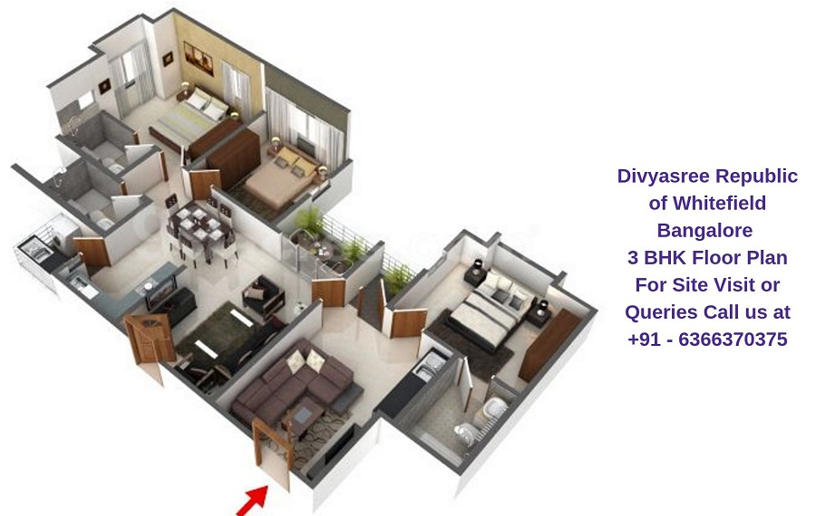 Divyasree Republic of Whitefield Bangalore 3 BHK Floor Plan