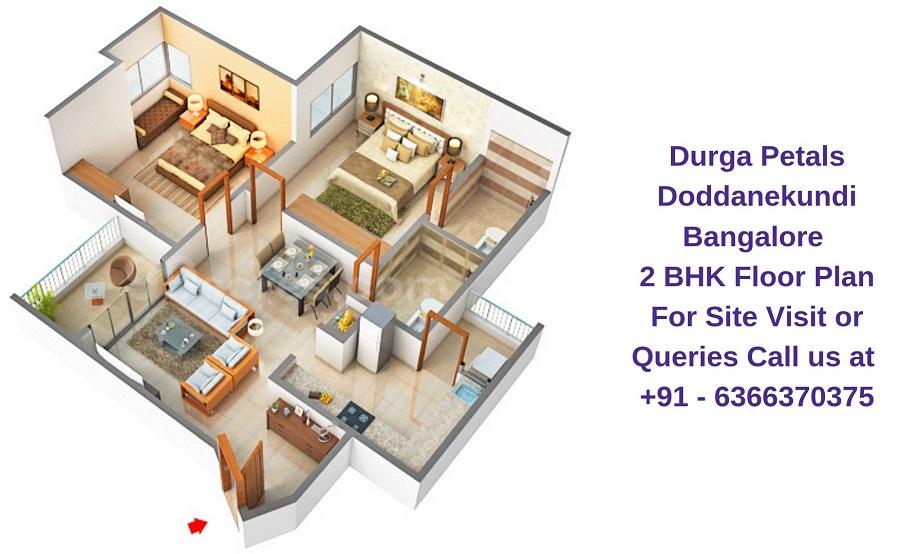 Durga Petals Doddanekundi Bangalore 2 BHK Floor Plan
