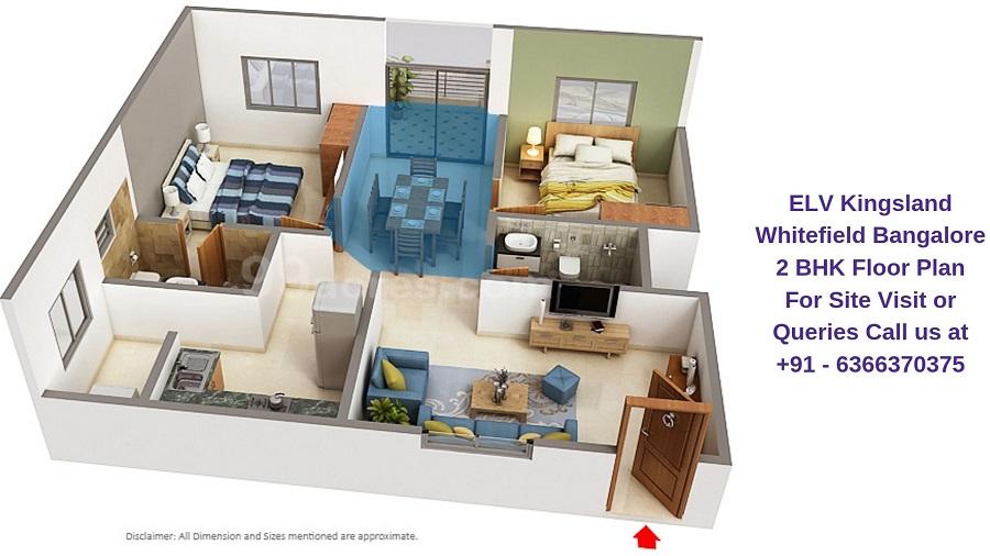 ELV Kingsland Whitefield Bangalore 2 BHK Floor Plan