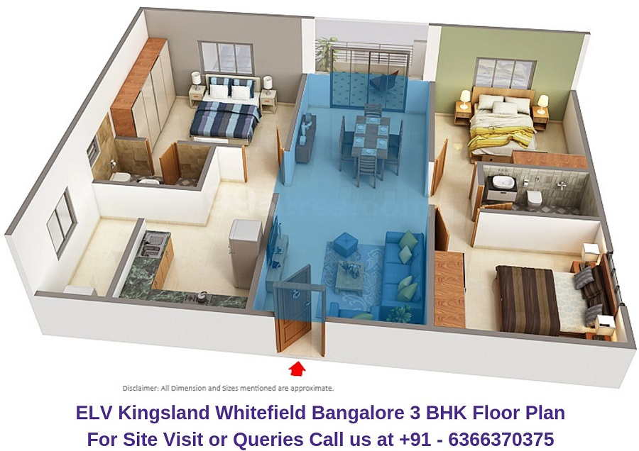ELV Kingsland Whitefield Bangalore 3 BHK Floor Plan