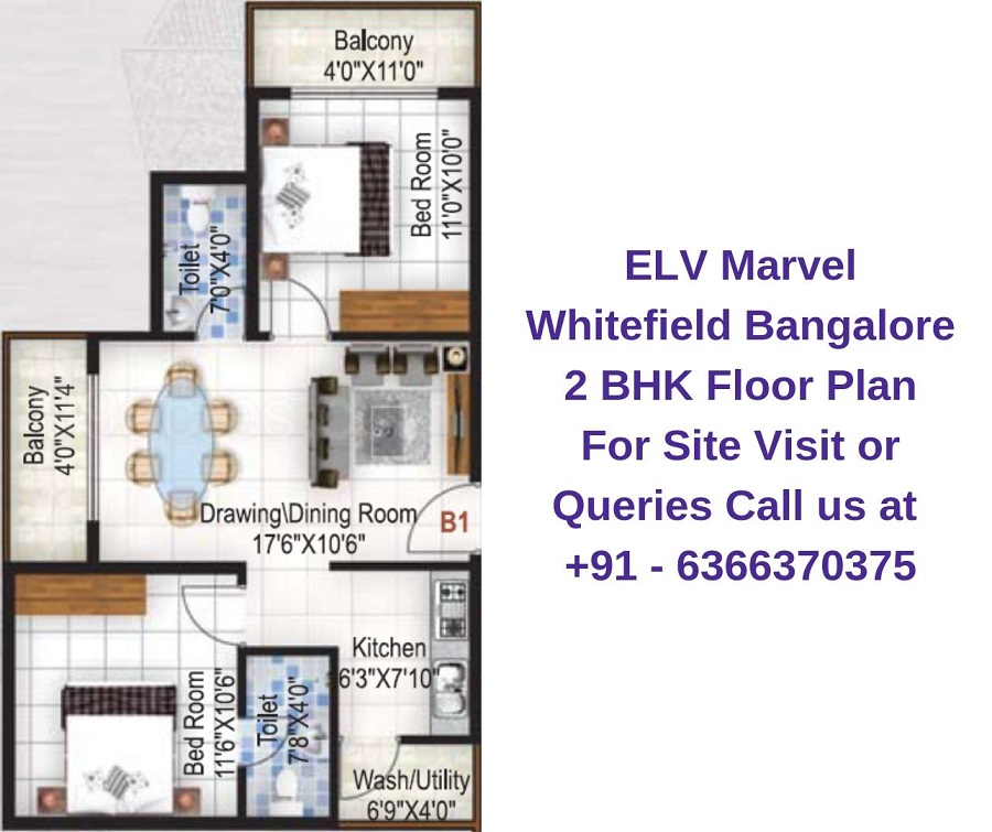 ELV Marvel Whitefield Bangalore 2 BHK Floor Plan