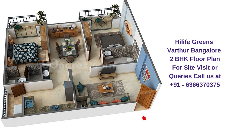 Hilife Greens Varthur Bangalore 2 BHK Floor Plan