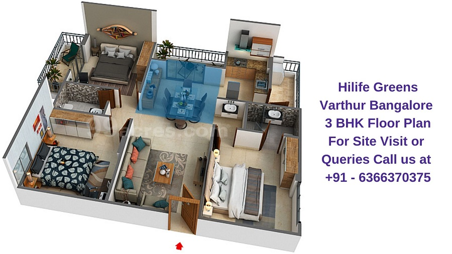 Hilife Greens Varthur Bangalore 3 BHK Floor Plan