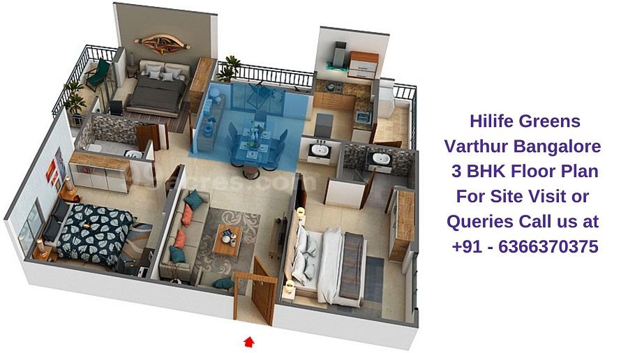 Hilife Greens Varthur Bangalore 3 BHK Floor Plan