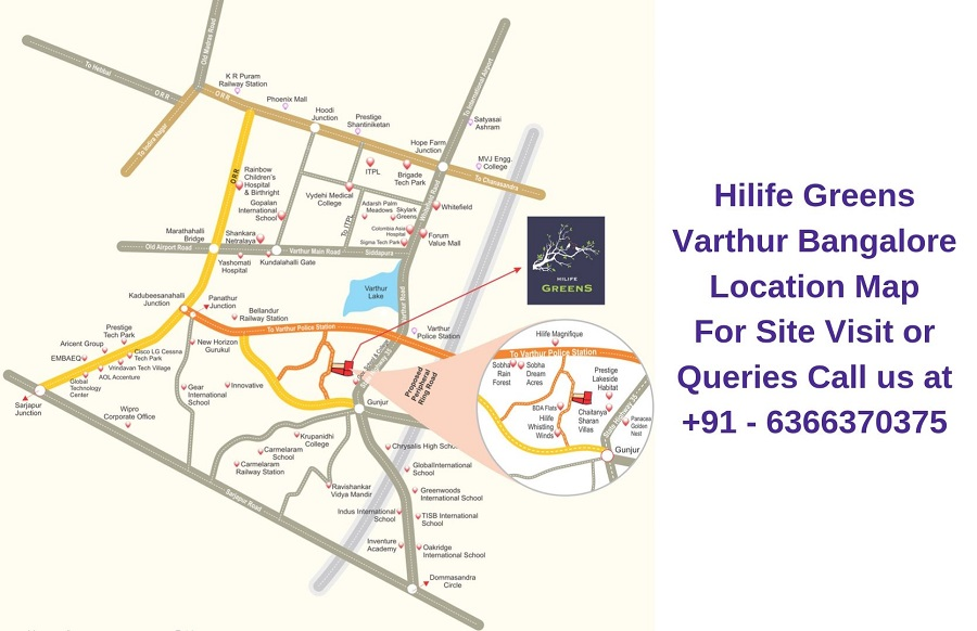 Hilife Greens Varthur Bangalore Location Map
