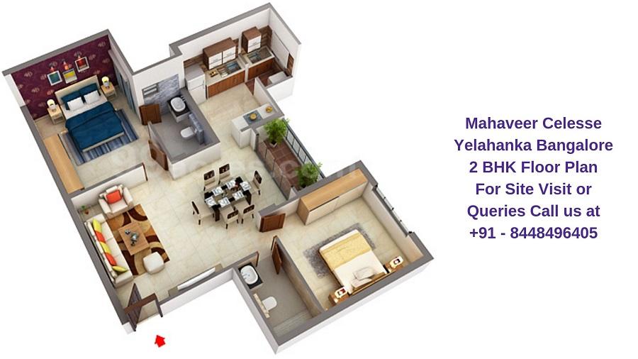 Mahaveer Celesse Yelahanka Bangalore 2 BHK Floor Plan