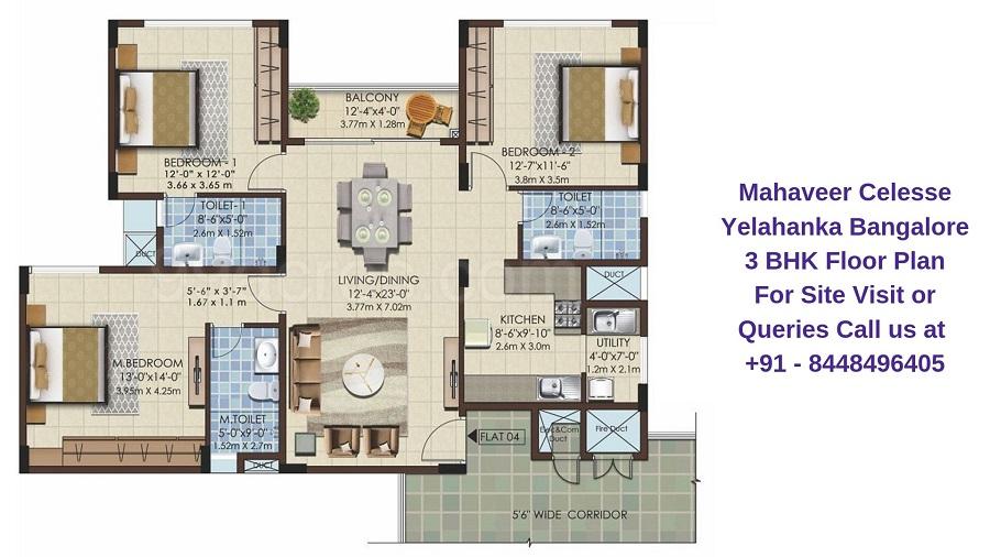Mahaveer Celesse Yelahanka Bangalore 3 BHK Floor Plan