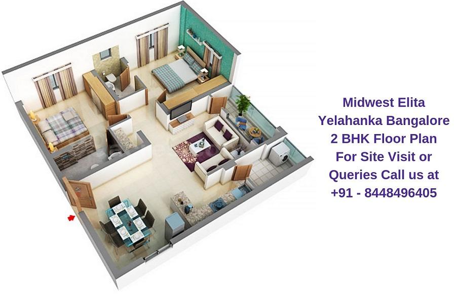 Midwest Elita Bagalur Cross Yelahanka Bangalore 2 BHK Floor Plan