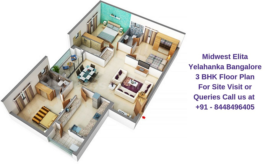 Midwest Elita Bagalur Cross Yelahanka Bangalore 3 BHK Floor Plan