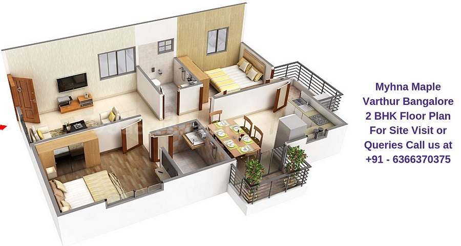 Myhna Maple Varthur Road Bangalore 2 BHK Floor Plan