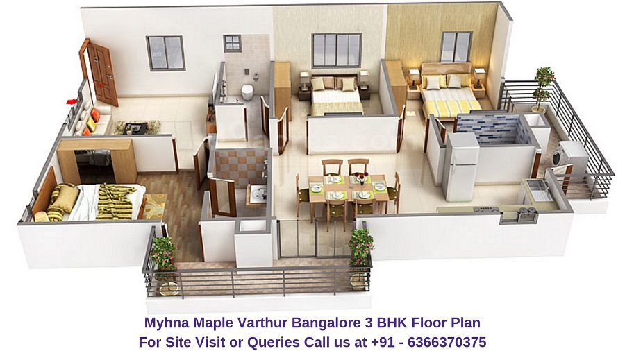 Myhna Maple Varthur Road Bangalore 3 BHK Floor Plan