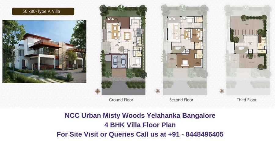 NCC Urban Misty Woods Yelahanka Bangalore 4 BHK Villa Floor Plan