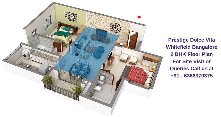 Prestige Dolce Vita Whitefield Bangalore 2 BHK Floor Plan